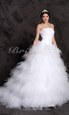 Ball Gown Sweep/ Brush Train Tiered Tulle Over Satin Wedding Dress