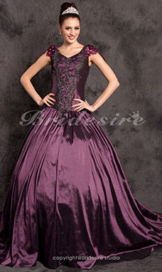 A-line Taffeta Court Train V-neck Evening Dress