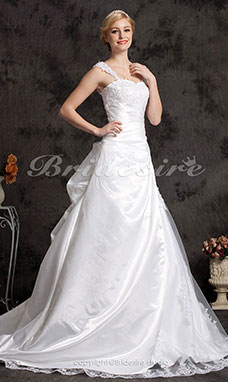 A-line/ Princess Taffeta Lace Court Train Off-the-shoulder Wedding Dress