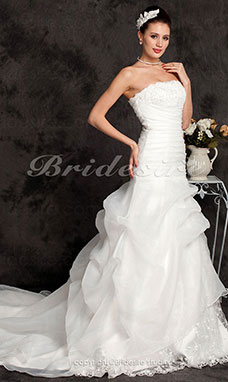 A-line Organza Over Lace Cathedral Train Strapless Wedding Dress with Split Front