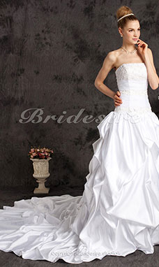 Ball Gown Satin Lace Cathedral Train Pick-up Strapless Wedding Dress