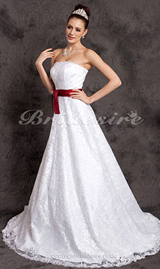 A-line Belt Court Train Lace Satin Sweetheart Wedding Dress