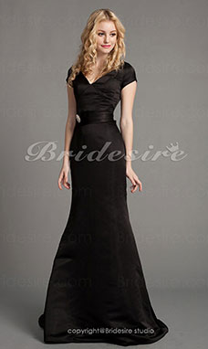 Trumpet/ Mermaid Satin Court Train V-neck Evening Dress inspired by Eva Longoria at Golden Globe Award