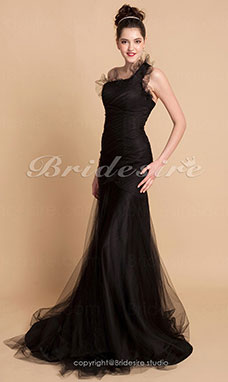 Trumpet/ Mermaid Tulle Satin Sweep Train One Shoulder Evening Dress inspired by Julia Stiles at Golden Globe Award
