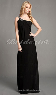 Sheath/ Column Chiffon Floor-length One Shoulder Mother of the Bride Dress