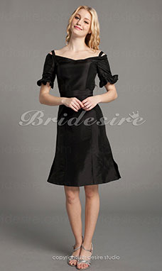 Sheath/ Column Taffeta Knee-length Off-the-shoulder Bridesmaid Dress