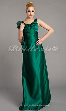 Sheath/ Column Satin Chiffon Floor-length V-neck Bridesmaid Dress