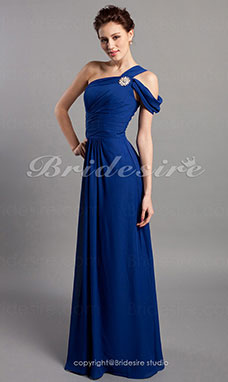 Sheath/ Column Floor-length Chiffon One Shoulder Bridesmaid Dress