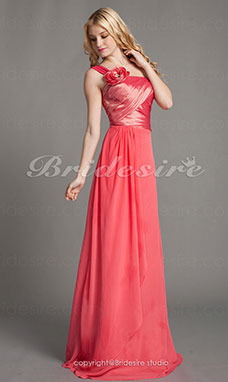 Sheath/ Column Chiffon And Taffeta Floor-length One Shoulder Bridesmaid Dress