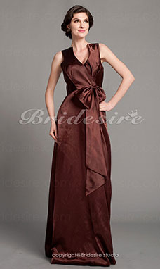 A-line Satin Floor-length V-neck Bridesmaid Dress