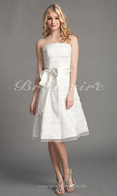 A-line Knee-length Strapless Wedding Dress