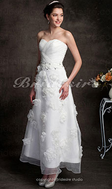 A-line Organza Ankle-length Sweetheart Wedding Dress