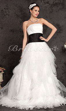 Ball Gown Satin Tulle Floor-length Strapless Wedding Dress