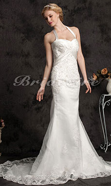Mermaid/Trumpet Halter Organza Satin Sweep/ Brush Train Wedding Dress