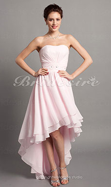 A-line High Low Chiffon Sweetheart Evening Dress With Beadings