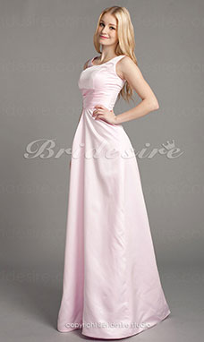 A-line Satin Floor-length Scoop Bridesmaid/ Wedding Party Dress