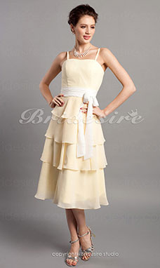 Sheath/ Column Straps Tea-length Tiered Chiffon Spaghetti Bridesmaid Dress