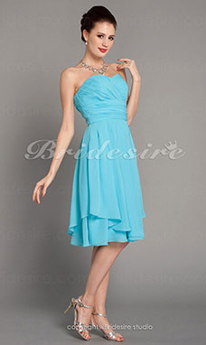A-line Knee-length Chiffon Sweetheart Bridesmaid Dress With Criss-Cross Bodice