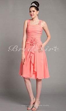 A-line Knee-length Chiffon Straps Bridesmaid Dress