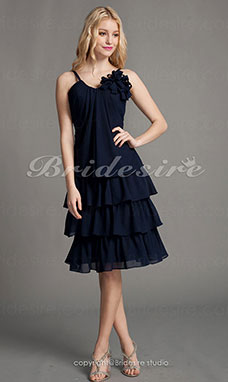 A-line Chiffon Knee-length Sweetheart Spaghetti Straps Cocktail Dress