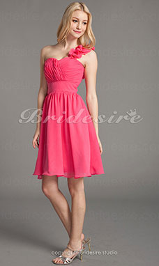 A-line Chiffon One Shoulder Knee-length Sweetheart Bridesmaid Dress