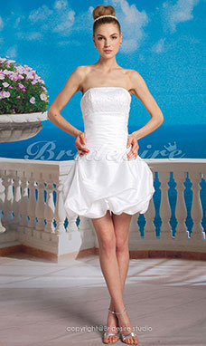 Ball Gown Taffeta Short/ Mini Strapless Wedding Dress