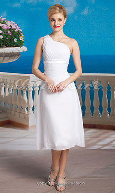 Sheath/ Column Chiffon Tea-length One Shoulder Wedding Dress