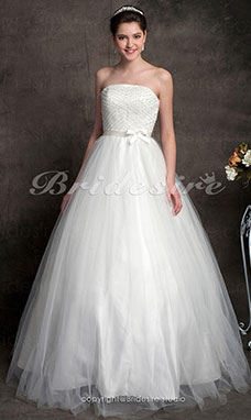 Ball Gown Tulle Floor-length Strapless Wedding Dress