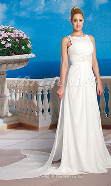 A-line Chiffon Watteau Train Jewel Neck Wedding Dress