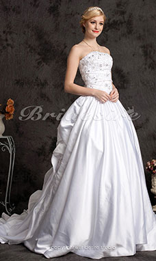 A-line Satin Cathedral Train Strapless Wedding Dress