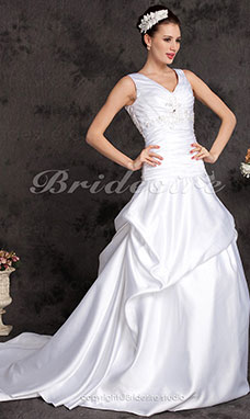 A-line Satin Chapel Train V-neck Wedding Dress