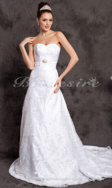 A-line Satin Chapel Train Sweetheart Wedding Dress