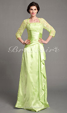 A-line Stretch Satin Floor-length Square Mother of the Bride Dress