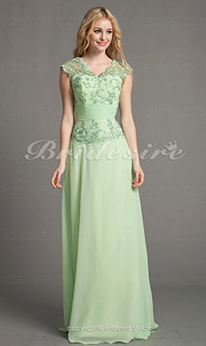 A-line Chiffon Floor-length V-neck Mother of the Bride Dress With Appliques