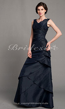 A-line Taffeta Floor-length Off-the-shoulder Evening Dress