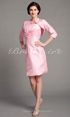 Sheath/ Column Taffeta Strapless Beaded Knee-length Mother of the Bride Dress With A Wrap