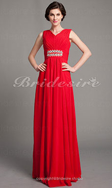 Sheath/Column Chiffon V-neck Draped Floor-length Mother of the Bride Dress