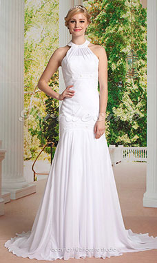 Mermaid/Trumpet Chiffon Sweep/ Brush Train Halter Wedding Dress
