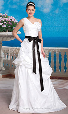 A-line Taffeta Floor-length One Shoulder Wedding Dress