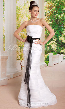 Mermaid/Trumpet Organza Floor-length Strapless Wedding Dress