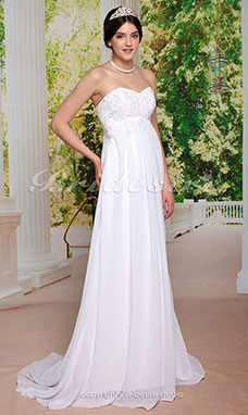 Sheath/ Column Chiffon Court Train Sweetheart Wedding Dress