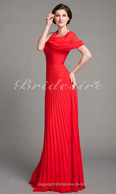 Sheath/ Column Chiffon V-neck Pleated Floor-length Evening Dress
