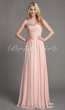 Sheath/Column Chiffon Sweetheart Floor-length Evening Dress With Criss-Cross Bodice