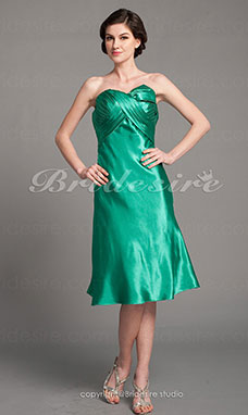 A-line Charmeuse Knee-length Strapless Mother Of The Bride Dress