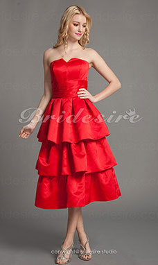 A-line Tiered Satin Knee-length Strapless Bridesmaid Dress