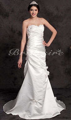 Trumpet/ Mermaid Court Train Strapless Satin Sweetheart Wedding Dress