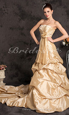 A-line Taffeta Court Train Strapless Wedding Dress