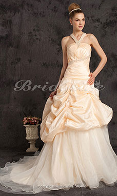 A-line Taffeta Organza Court Train V-neck Wedding Dress