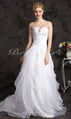 A-line Organza Cathedral Train Strapless Wedding Dress