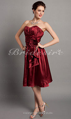 A-line Knee-length Stretch Satin Strapless Cocktail Dress